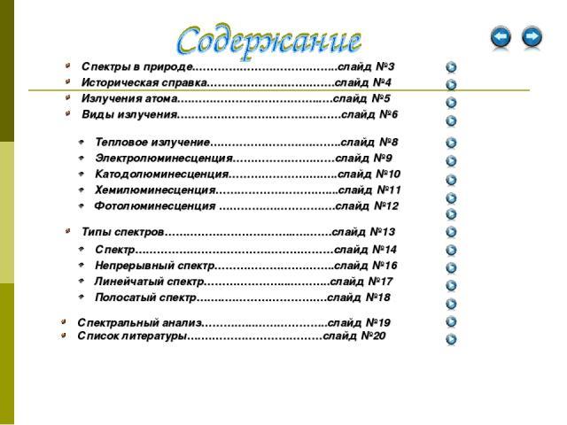 Спектральный анализ…………...………………..слайд №19 Список литературы….……………………………слайд №20 Тепловое излучение……………………….……..слайд №8 Электролюминесценция………………….……слайд №9 Катодолюминесценция…………………….…..слайд №10 Хемилюминесценция…………………………....слайд №11 Фот…