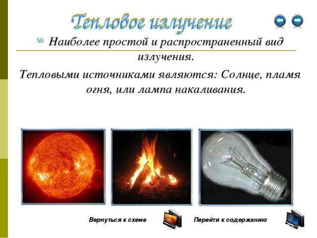 Наиболее простой и распространенный вид излучения. Тепловыми источниками являются: Солнце, пламя огня, или лампа накаливания. Вернуться к схеме Перейти к содержанию