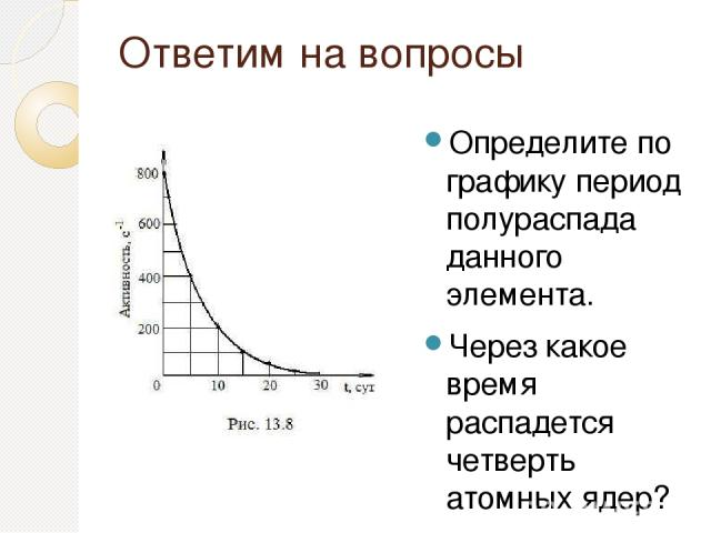 Ответим на вопросы Определите по графику период полураспада данного элемента. Через какое время распадется четверть атомных ядер? во сколько раз уменьшится количество не распавшихся атомных ядер через 15 суток?