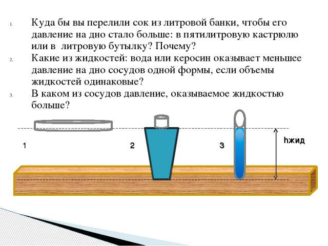 Куда бы вы перелили сок из литровой банки, чтобы его давление на дно стало больше: в пятилитровую кастрюлю или в литровую бутылку? Почему? Какие из жидкостей: вода или керосин оказывает меньшее давление на дно сосудов одной формы, если объемы жидкос…