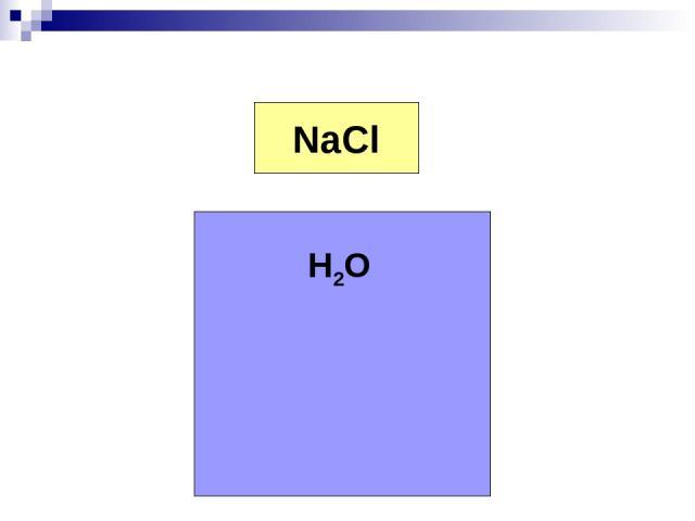 Na+ Cl- NaCl H2O