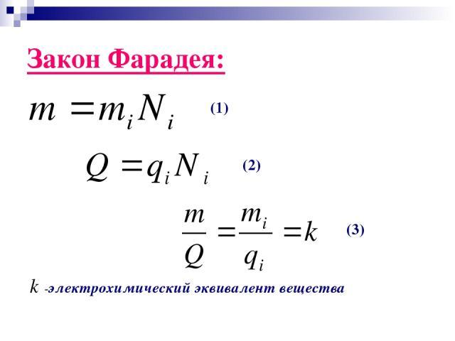 Закон Фарадея: -электрохимический эквивалент вещества (1) (2) (3)