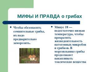 МИФЫ И ПРАВДА о грибах Чтобы обезопасить сомнительные грибы, их надо предварител