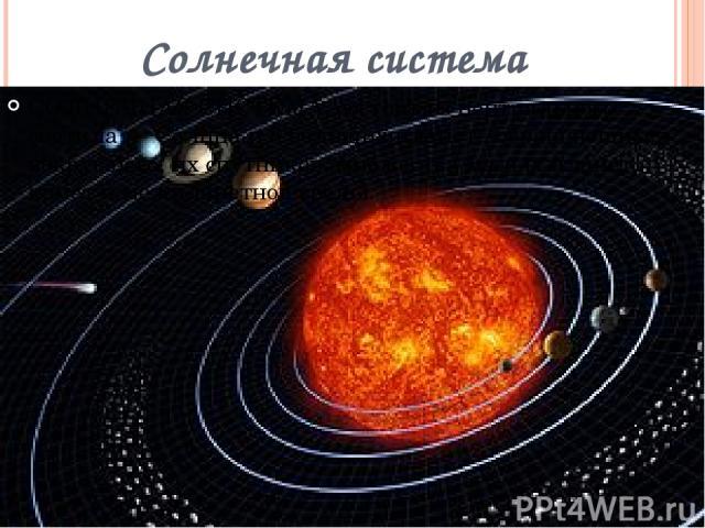 Солнечная система СОЛНЕЧНАЯ СИСТЕМА, состоит из центрального светила — Солнца и 8 больших планет , обращающихся вокруг него, их спутников, множества малых планет, комет и межпланетной среды.
