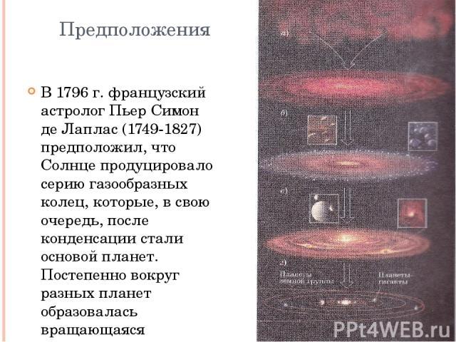 Предположения В 1796 г. французский астролог Пьер Симон де Лаплас (1749-1827) предположил, что Солнце продуцировало серию газообразных колец, которые, в свою очередь, после конденсации стали основой планет. Постепенно вокруг разных планет образовала…