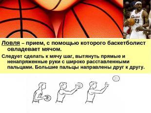 Ловля – прием, с помощью которого баскетболист овладевает мячом. Следует сделать