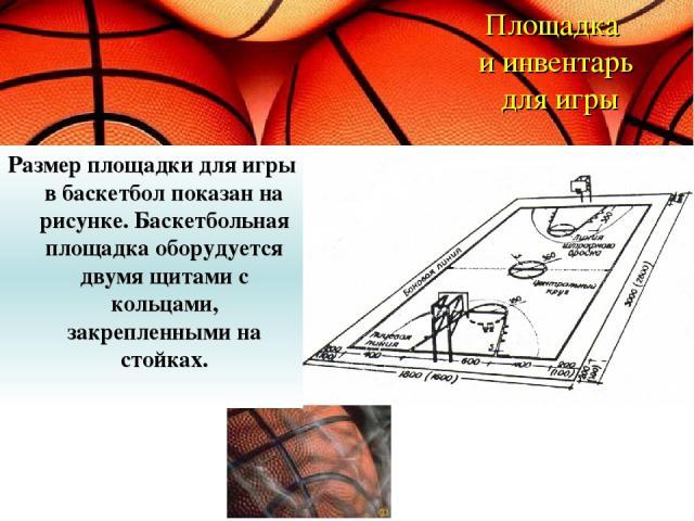 Площадка и инвентарь для игры Размер площадки для игры в баскетбол показан на рисунке. Баскетбольная площадка оборудуется двумя щитами с кольцами, закрепленными на стойках.