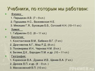Учебники, по которым мы работаем: Физика: 1. Перышкин А.В. (7 – 9 кл.) 2. Пурыше