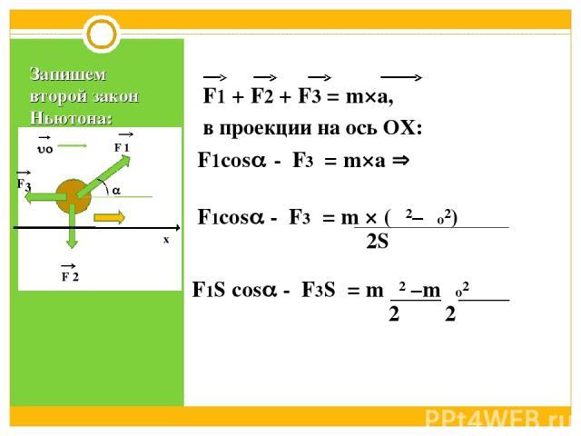 Запишем второй закон Ньютона: F1 + F2 + F3 = m×а, в проекции на ось ОХ: F1cos F3 = m×а F1cos F3 = m × (υ²–υо²) 2S F1S cos F3S = mυ² –mυо² 2 2