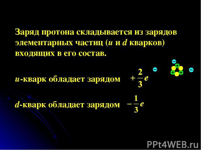 Заряд протона складывается из зарядов элементарных частиц (u и d кварков) входящих в его состав. u-кварк обладает зарядом d-кварк обладает зарядом
