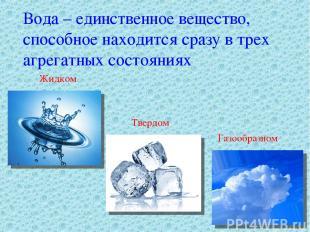 Вода – единственное вещество, способное находится сразу в трех агрегатных состоя