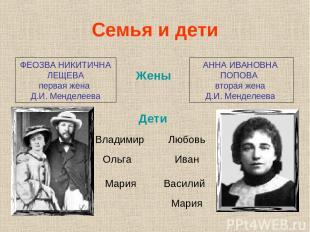ФЕОЗВА НИКИТИЧНА ЛЕЩЕВА первая жена Д.И. Менделеева АННА ИВАНОВНА ПОПОВА вторая