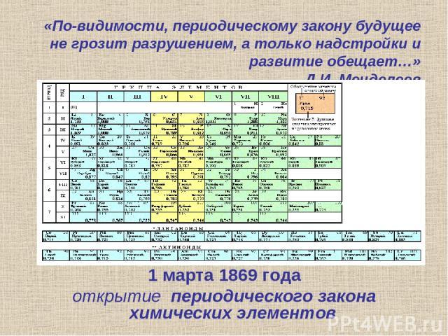«По-видимости, периодическому закону будущее не грозит разрушением, а только надстройки и развитие обещает…» Д.И. Менделеев 1 марта 1869 года открытие периодического закона химических элементов