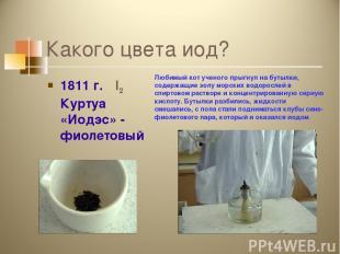 Какого цвета иод? 1811 г. I2 Куртуа «Иодэс» - фиолетовый Любимый кот ученого пры