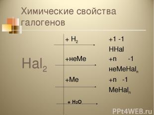 Химические свойства галогенов + Н2О Hal2 + Н2 +1 -1 HHal +неМе +n -1 неМеHaln +М