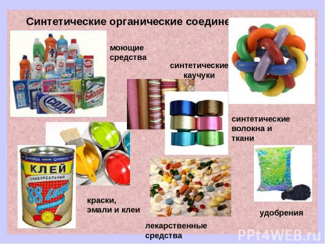 Синтетические органические соединения лекарственные средства синтетические каучуки краски, эмали и клеи синтетические волокна и ткани удобрения моющие средства