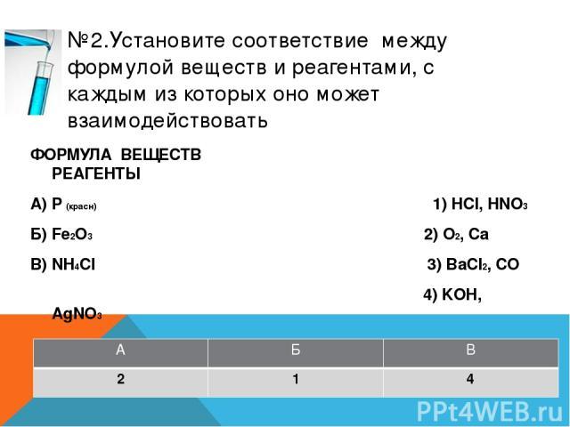 №4.Установите соответствие между формулой веществ и реагентами, с каждым из которых оно может взаимодействовать ФОРМУЛА ВЕЩЕСТВ РЕАГЕНТЫ А) Na 1) HCl, Na2SO4 Б) Ba(OH)2 2) KOH, CaCl2 В) HNO3 3) Cu, Ca(OH)2 4) Cl2, O2 А Б В 4 1 3