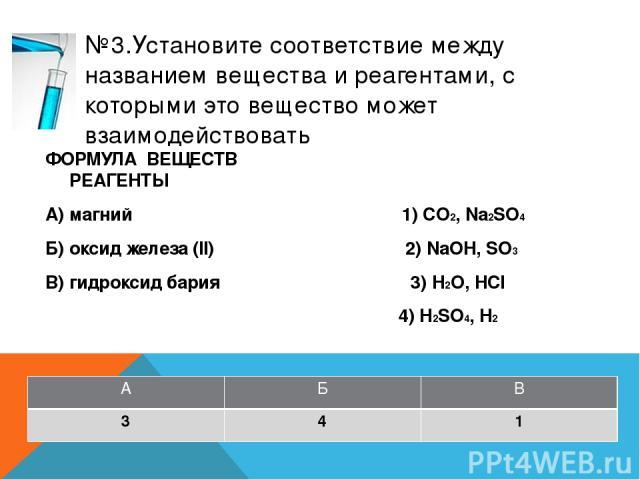 №5.Установите соответствие между формулой веществ и реагентами, с каждым из которых оно может взаимодействовать ФОРМУЛА ВЕЩЕСТВ РЕАГЕНТЫ А) сера 1) CO2, Na2SO4 (р-р) Б) оксид цинка 2) NaOH, P2O3 В) хлорид алюминия 3) AgNO3, KOH (р-р) 4) H2SO4 (конц)…