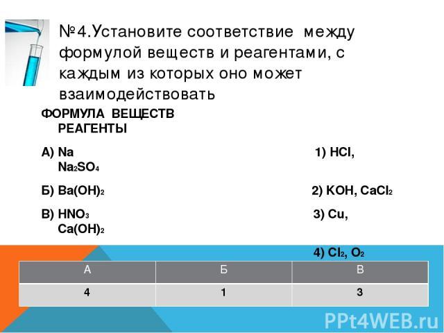 №7.Установите соответствие между названием вещества и реагентами, с которыми это вещество может взаимодействовать ФОРМУЛА ВЕЩЕСТВ РЕАГЕНТЫ А) углерод 1) CO2, Na2SO4 (р-р) Б) оксид кремния 2) NaOH, С В) фосфат кальция 3) ВaCl2, KOH (р-р) 4) О2, Al А …