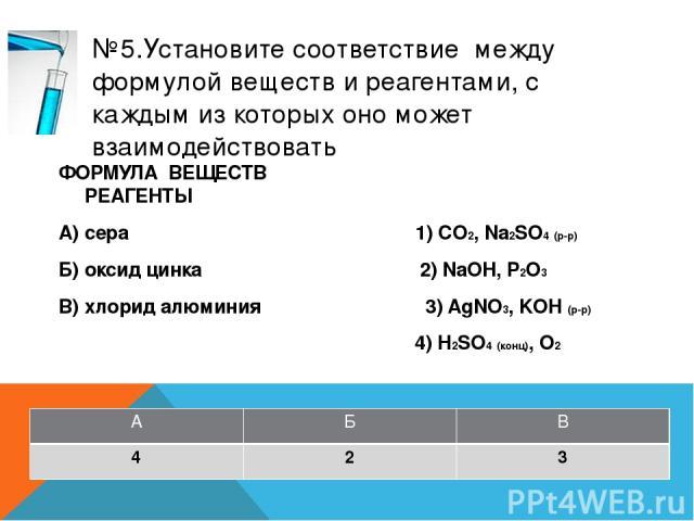 №8.Установите соответствие между названием вещества и реагентами, с которыми это вещество может взаимодействовать ФОРМУЛА ВЕЩЕСТВ РЕАГЕНТЫ А) азот 1) CO2, Na2SO4 (р-р) Б) оксид натрия 2) Na, O2 В) гидроксид алюминия 3) HCl, CO2 4) NaOH, HNO3 А Б В 2 3 4