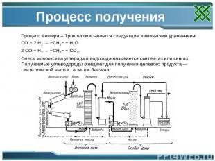 Процесс получения Процесс Фишера – Тропша описывается следующим химическим уравн