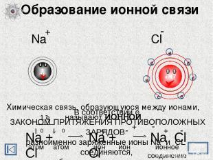 Образование ионной связи Химическая связь, образующуюся между ионами, называют И