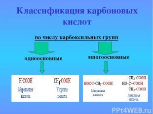 Классификация карбоновых кислот по числу карбоксильных групп одноосновные многоо
