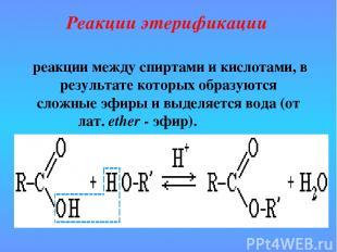 реакции между спиртами и кислотами, в результате которых образуются сложные эфир