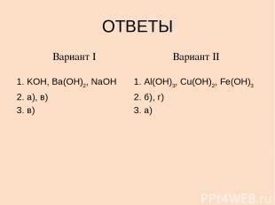 ОТВЕТЫ Вариант I KOH, Ba(OH)2, NaOH а), в) в) Вариант II Al(OH)3, Cu(OH)2, Fe(OH