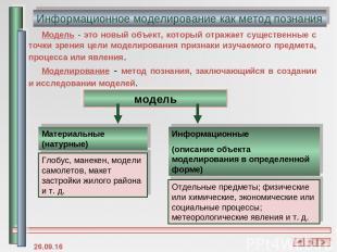 Информационное моделирование как метод познания модель Материальные (натурные) И