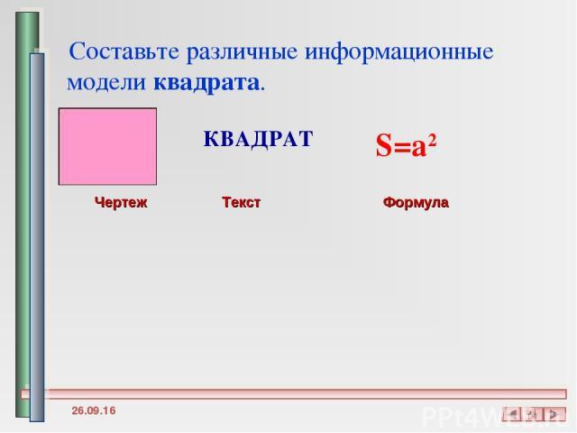* Составьте различные информационные модели квадрата.   КВАДРАТ Чертеж Текст Формула S=a2
