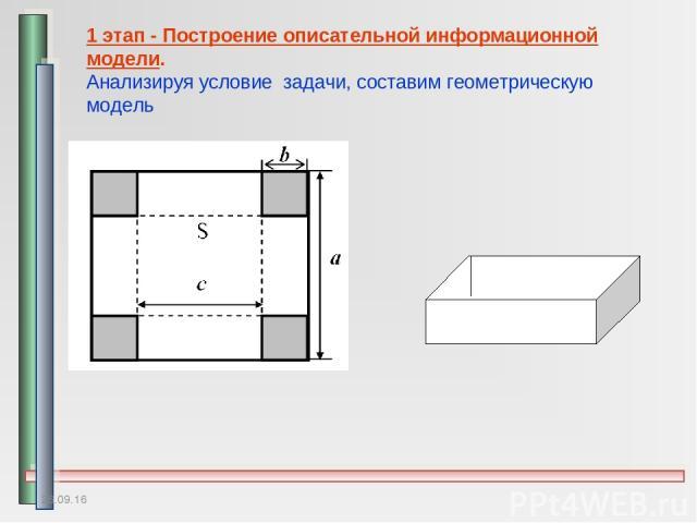 * 1 этап - Построение описательной информационной модели. Анализируя условие задачи, составим геометрическую модель