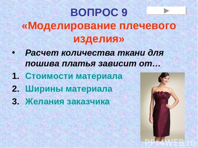 ВОПРОС 9 «Моделирование плечевого изделия» Расчет количества ткани для пошива платья зависит от… Стоимости материала Ширины материала Желания заказчика