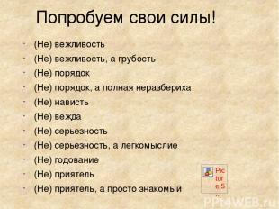 Попробуем свои силы! (Не) вежливость (Не) вежливость, а грубость (Не) порядок (Н