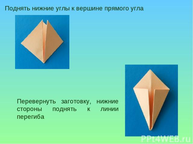 Поднять нижние углы к вершине прямого угла Перевернуть заготовку, нижние стороны поднять к линии перегиба