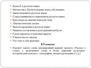 Буква Ё в русском языке Ономастика. Происхождение имен собственных Заимствования