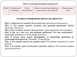 Лист планирования (вариант) Алгоритм планирования работы над проектом: Шаг 1. За