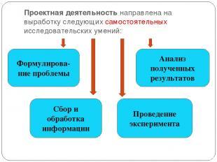 Проектная деятельность направлена на выработку следующих самостоятельных исследо