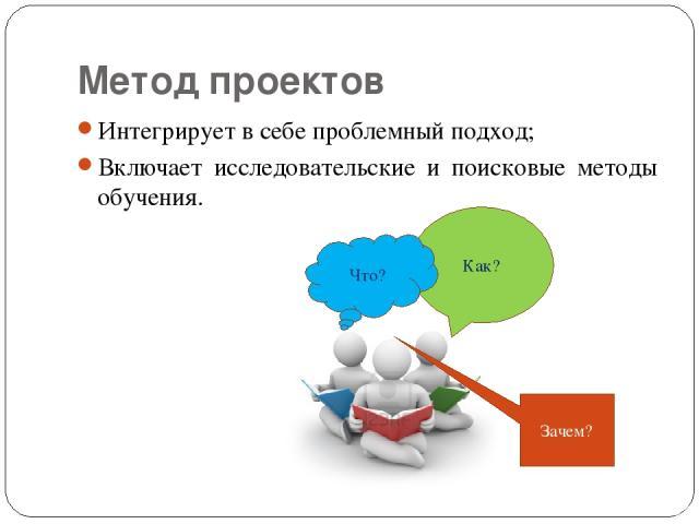 Метод проектов Интегрирует в себе проблемный подход; Включает исследовательские и поисковые методы обучения.