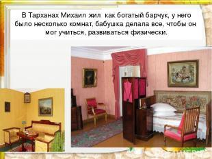 В Тарханах Михаил жил как богатый барчук, у него было несколько комнат, бабушка