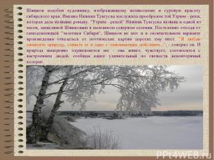 Шишков подобен художнику, изображающему великолепие и суровую красоту сибирского