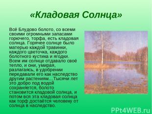 «Кладовая Солнца» Всё Блудово болото, со всеми своими огромными запасами горючег