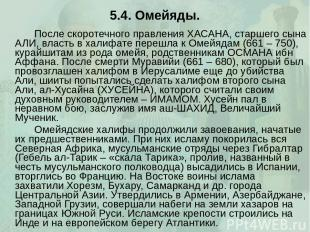 5.4. Омейяды. После скоротечного правления ХАСАНА, старшего сына АЛИ, власть в х