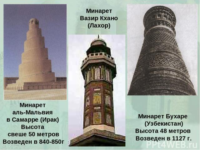 Минарет аль-Мальвия в Самарре (Ирак) Высота свеше 50 метров Возведен в 840-850г Минарет Бухаре (Узбекистан) Высота 48 метров Возведен в 1127 г. Минарет Вазир Кхано (Лахор)