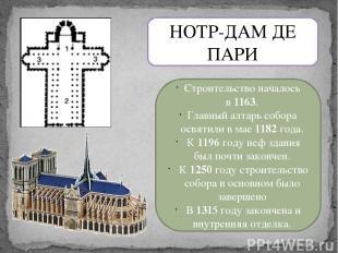 НОТР-ДАМ ДЕ ПАРИ Строительство началось в1163. Главный алтарь собора освятили в
