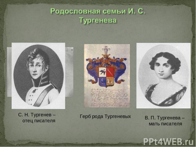 Братья Тургеневы Герб рода Тургеневых С. Н. Тургенев – отец писателя В. П. Тургенева – мать писателя
