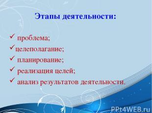 Этапы деятельности: проблема; целеполагание; планирование; реализация целей; ана