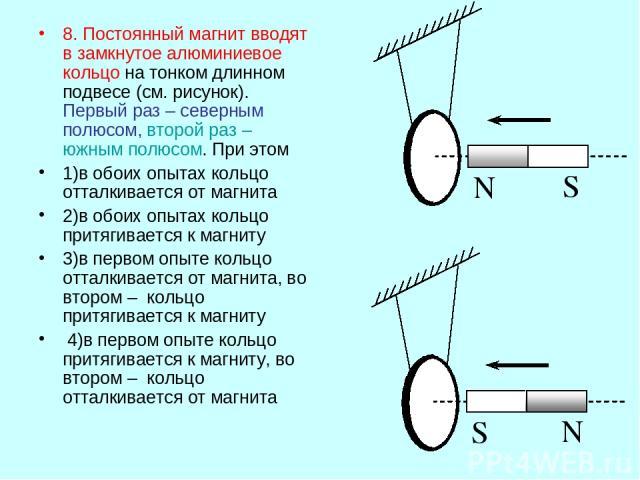 8. Постоянный магнит вводят в замкнутое алюминиевое кольцо на тонком длинном подвесе (см. рисунок). Первый раз – северным полюсом, второй раз – южным полюсом. При этом 1)в обоих опытах кольцо отталкивается от магнита 2)в обоих опытах кольцо притягив…