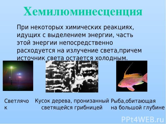 Хемилюминесценция При некоторых химических реакциях, идущих с выделением энергии, часть этой энергии непосредственно расходуется на излучение света,причем источник света остается холодным. Светлячок Кусок дерева, пронизанный светящейся грибницей Рыб…
