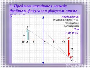 3. Предмет находится между двойным фокусом и фокусом линзы (2F>d>F) h A B A' B'